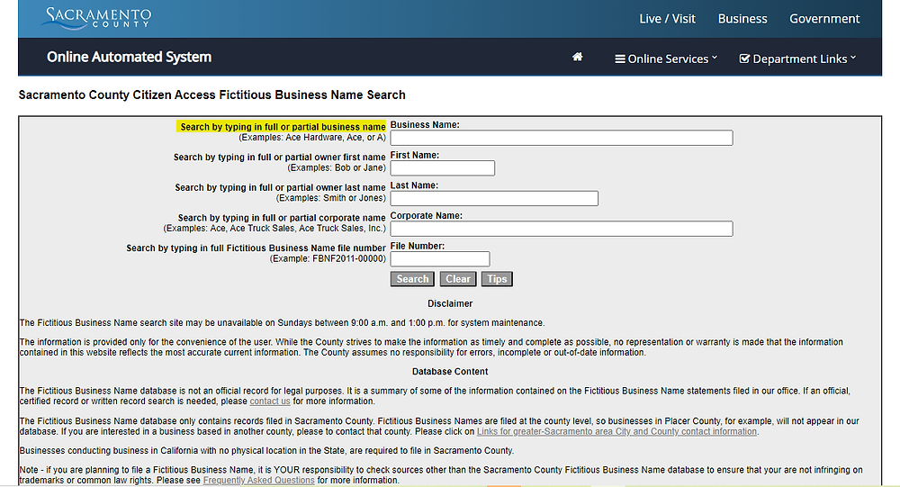How to find a fictitious business name in Sacramento County