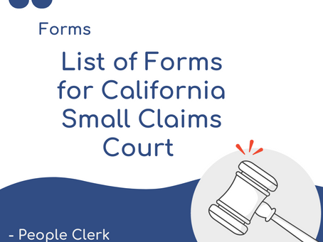 Quick List of small claims forms in California