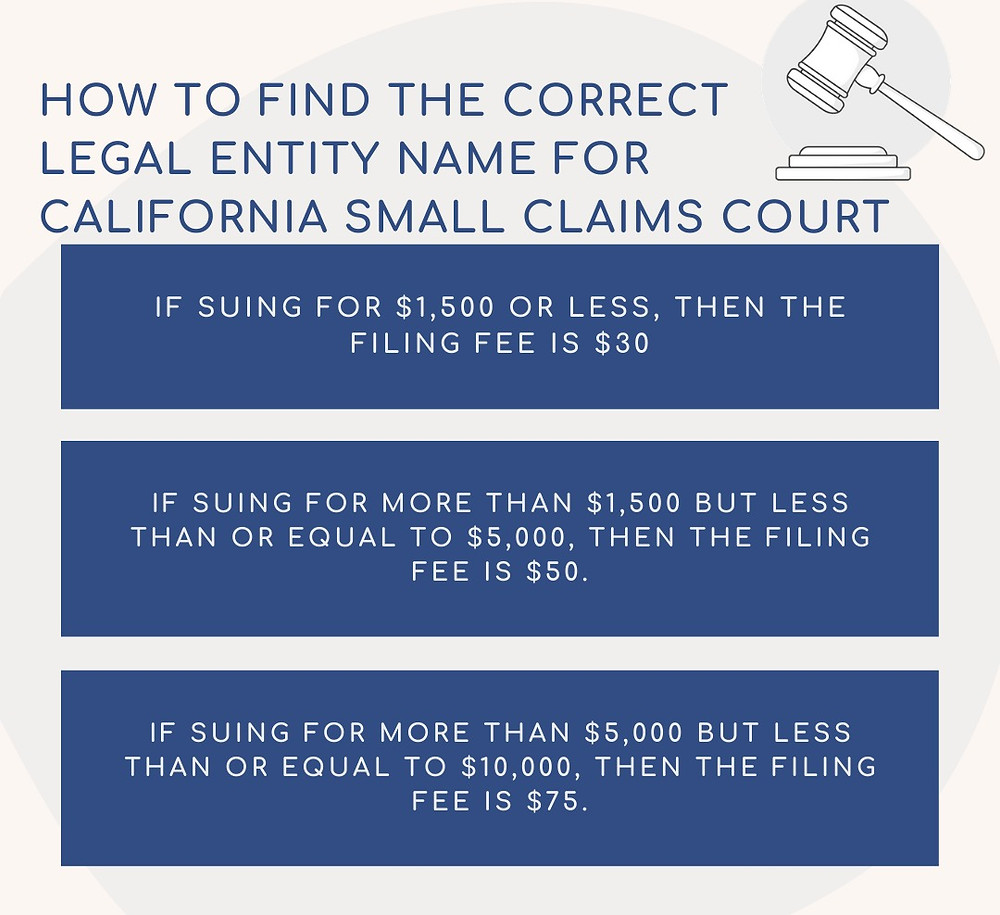 How to find the correct legal entity name for Santa Clara Small Claims Court