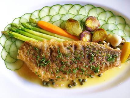 Grilled Sea Bass in Tarragon Lemon Butter Sauce