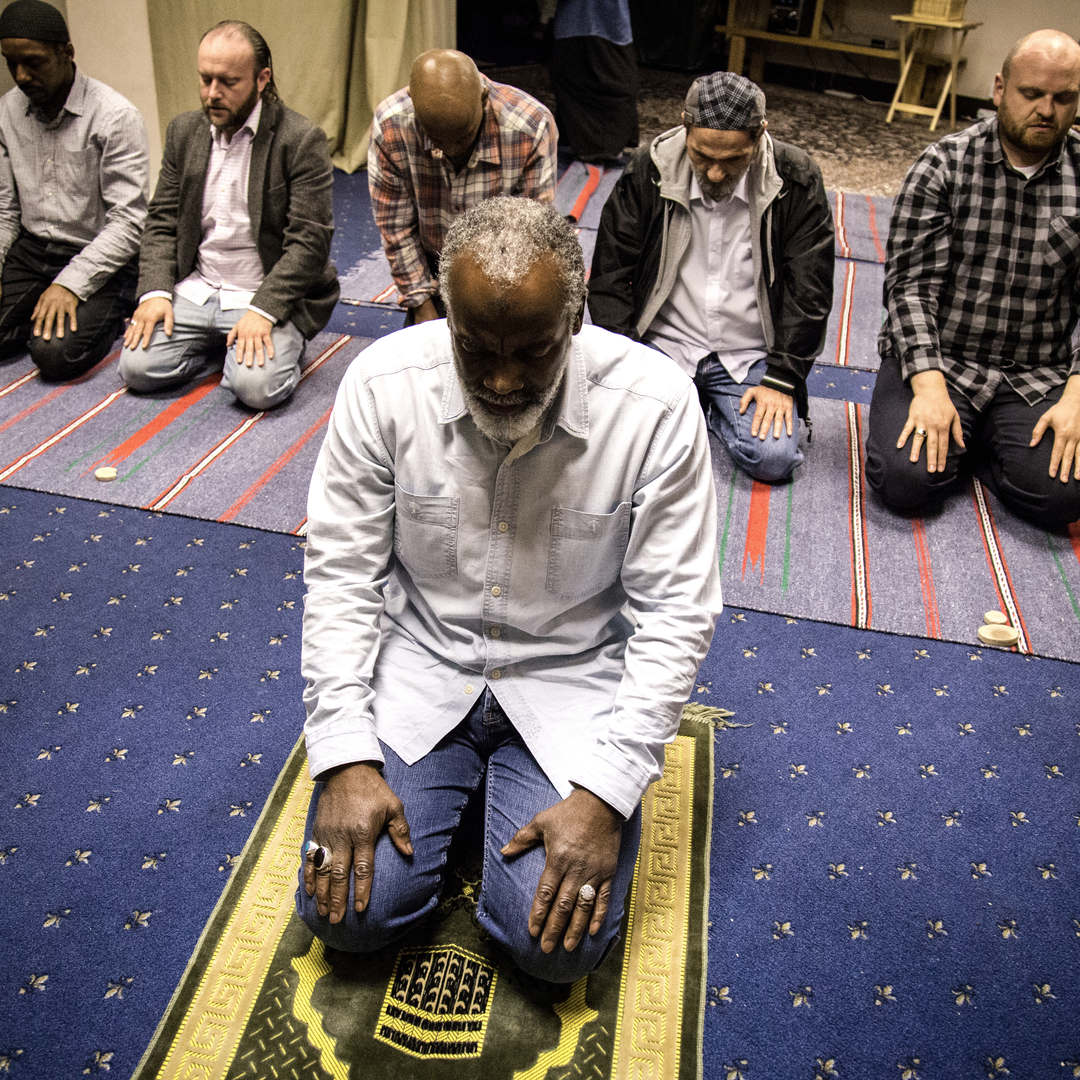 Members of the Ahlul Beit Community pray before the break of the fast, during the holy month of Ramadan.  The Community gathers converts from all ethnic backgrounds and offers support to those who recently embraced Islam.