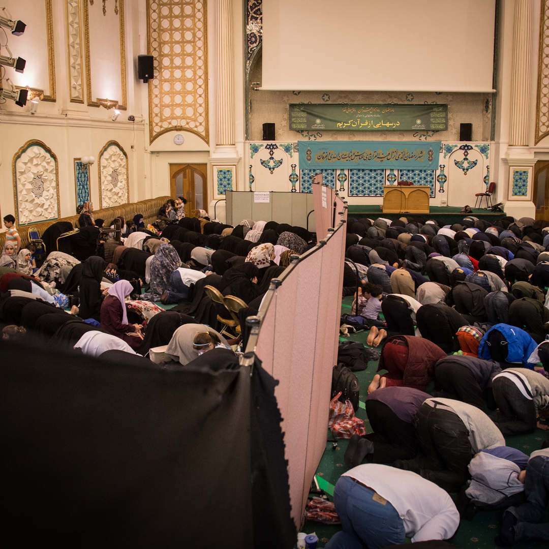 A view of the main prayer hall of the Islamic Centre of England, during Ramadan.
