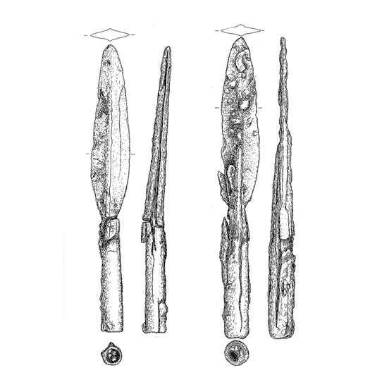Measurements of found spears.