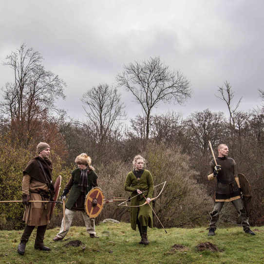 Members of the Malmo-based Viking group Halsingarna during a training session in a forest.  Halsingarna was the first Viking group to be founded in the early 1990s, when the neo-Viking subculture first emerged.