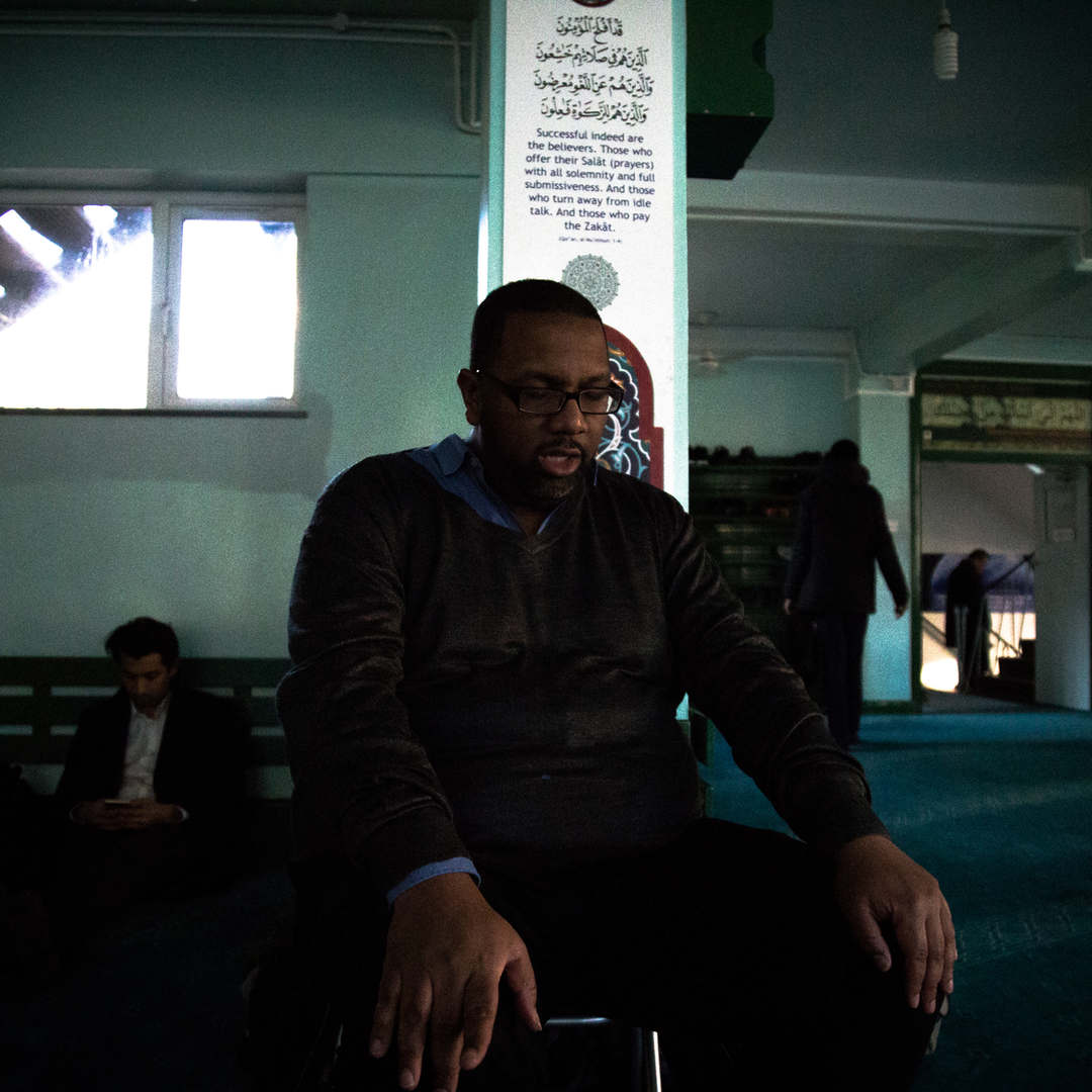 Ismael Lea South, a former rappers turned social activist, prays at a mosque in London. After leaving music, Ismael began working to empower black youths in London.