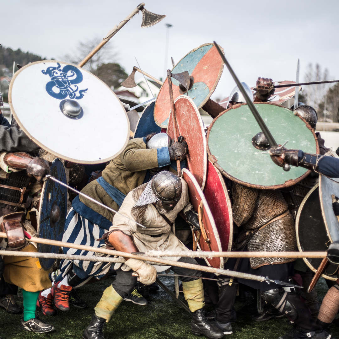 Fighters clash during a fighting session during a combat training weekend in Halden, Nornway.