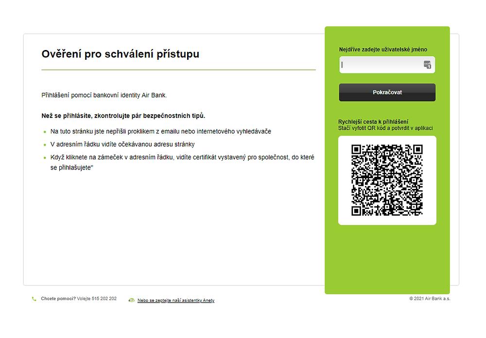 Bankovní identita - internetové bankovnictví Air Bank - ověření
