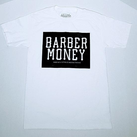 Barber money. mens white tee