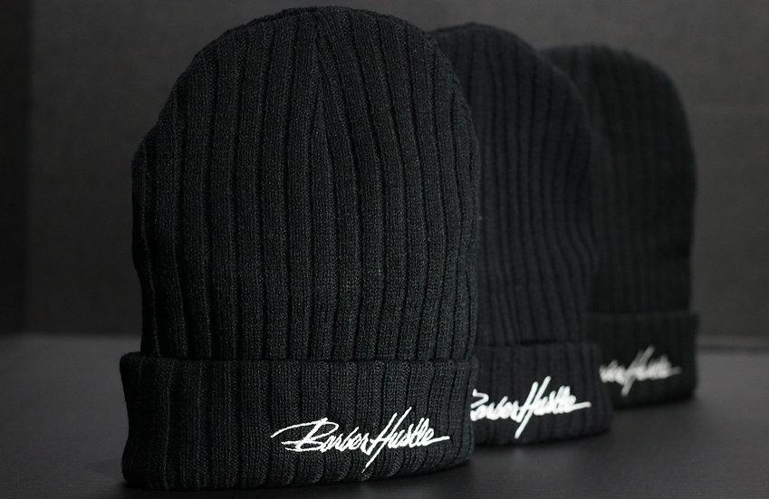 knitted black beanie/ white lettering