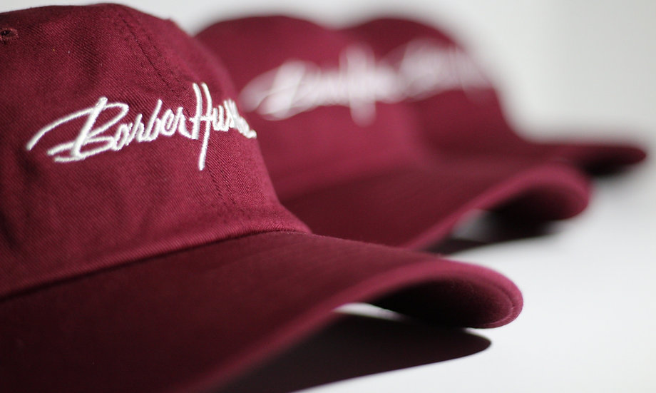 burgandy dad hat / white lettering