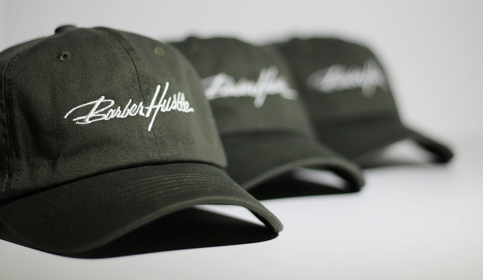 olive green dad hat / white lettering