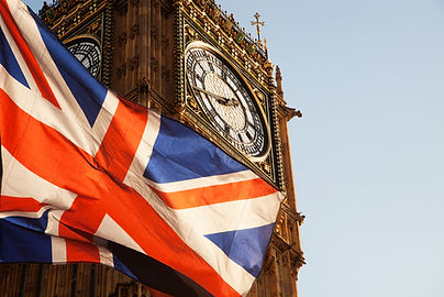 union jack flag and iconic Big Ben at th