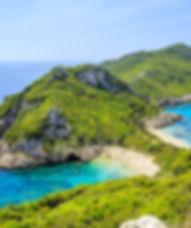 A panorama of Prto Timoni beach in Corfu