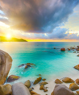 Beautiful sunset over the famous beach A