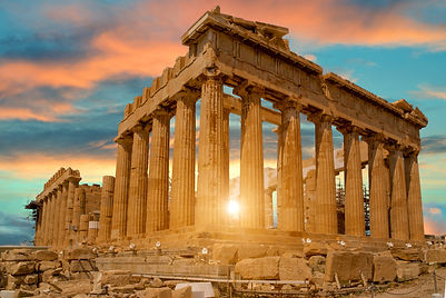 parthenon athens greece sunset colors fo