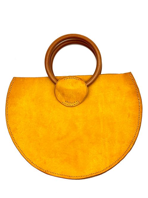 """GOLDEN GAL"" Half Moon Handbag in Yellow"