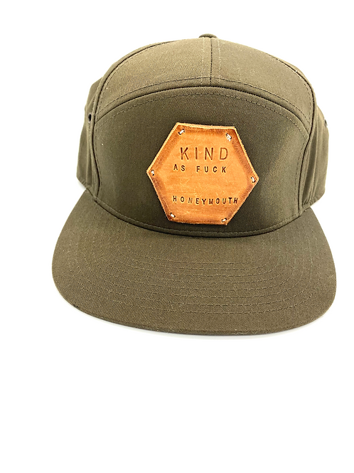"""""""KIND AS F**K"""" Hat in Olive Green with Tan patch"""