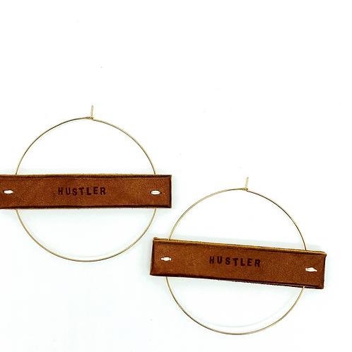 """HUSTLER"" Earrings in Gold or Silver, Large"