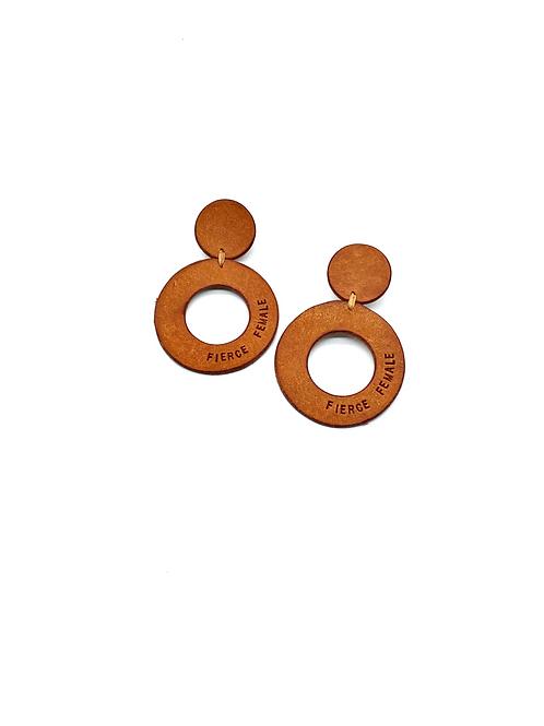"""FIERCE FEMALE"" Circle Earrings in Olmo"