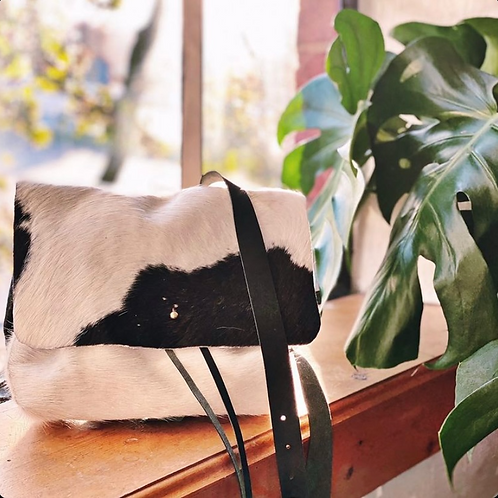 """BABE"" Backpack in Black + White Calfhair"