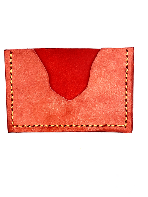 Two-Tone Cardholder in Pink + Red