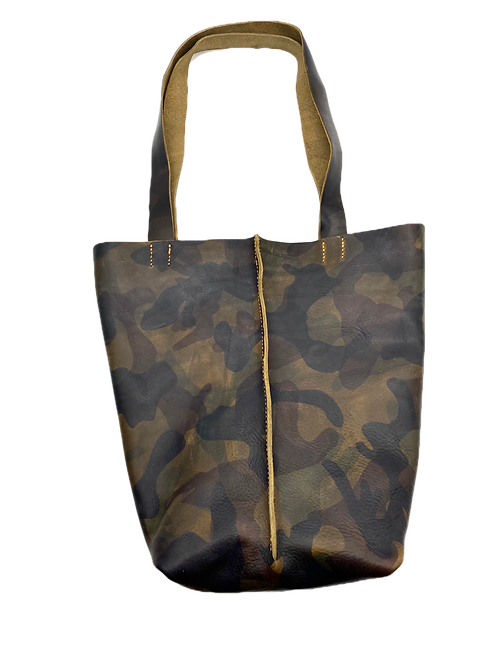 """""""WORK HARD, BE KIND"""" Tote in Olive Camo"""