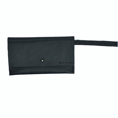 """WELL LOVED"" Wristlet in Black"