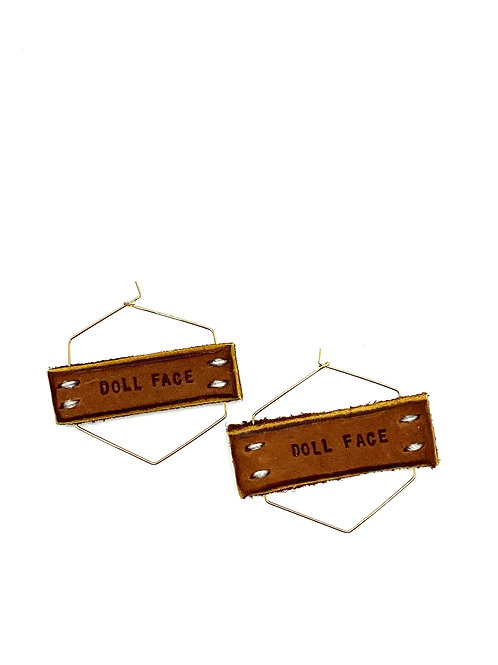 """""""DOLL FACE"""" Earrings in Gold, Small"""