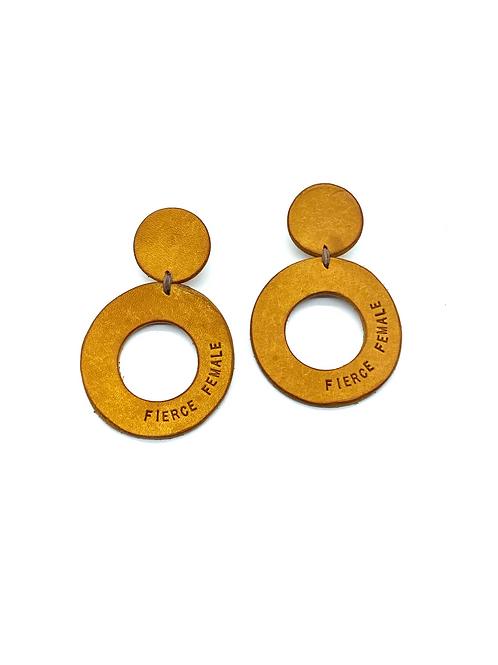 """""""FIERCE FEMALE"""" Circle Earrings in Yellow"""