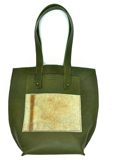 """""""CARRY KINDNESS"""" Tote in Olive with Calf Hair Pocket"""