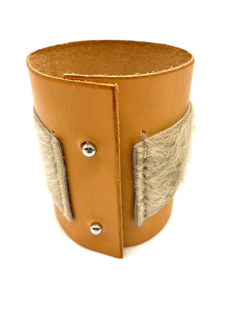Leather & Calf Hair Cuff Bracelet, in Tan and White