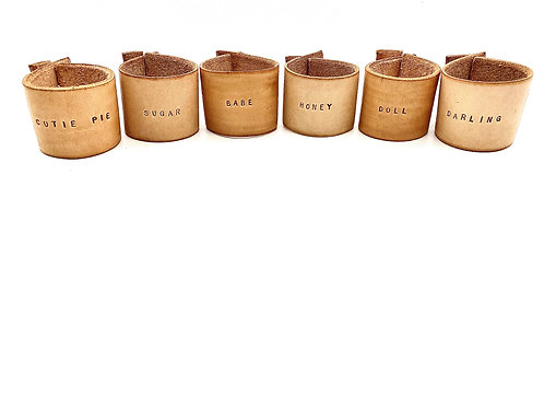 """Terms of Endearment"" Napkin Rings, Set of 6 in Tan"