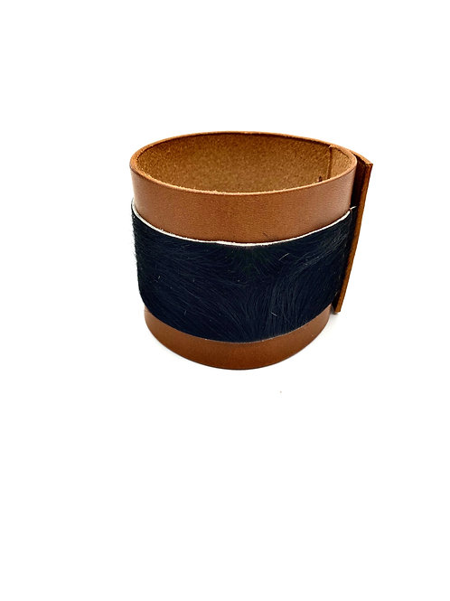 Leather & Calf Hair Cuff Bracelet, in Whiskey and Black