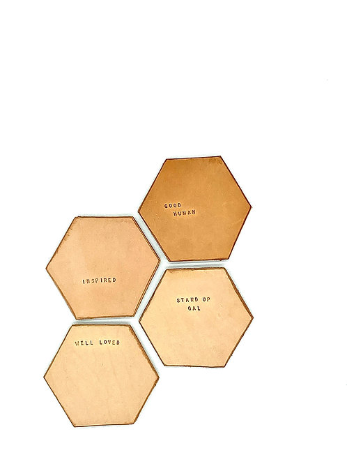 Heartfelt Terms of Endearment Coasters, Set of 4 in Tan