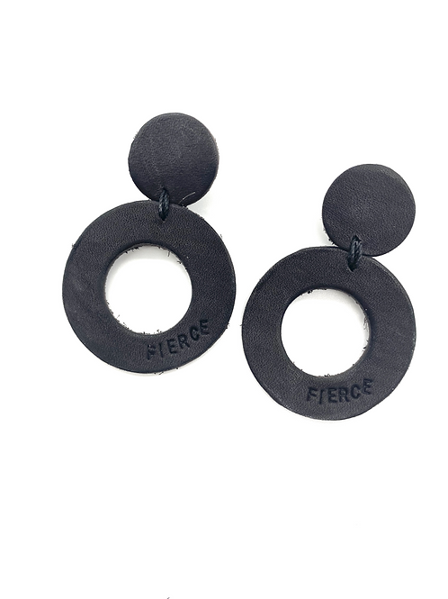"""FIERCE"" Circle Earrings in Black, small"