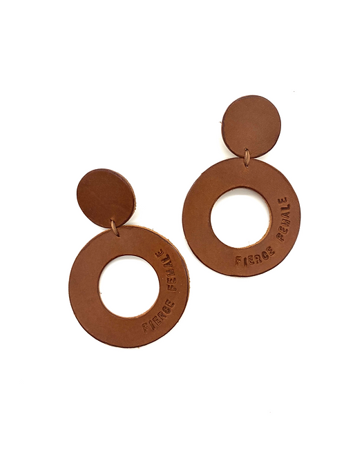 """FIERCE FEMALE"" Circle Earrings in Whiskey"