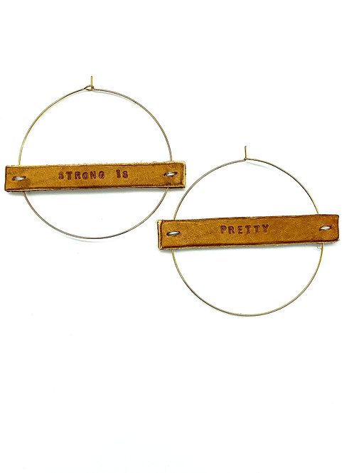 """""""STRONG IS PRETTY"""" Earrings in Gold or Silver, Large"""