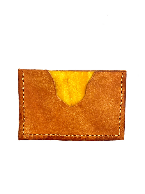Two-Tone Cardholder in Olmo + Yellow