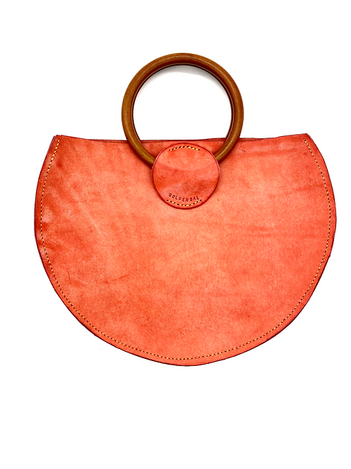 """GOLDEN GAL"" Half Moon Handbag in Pink"