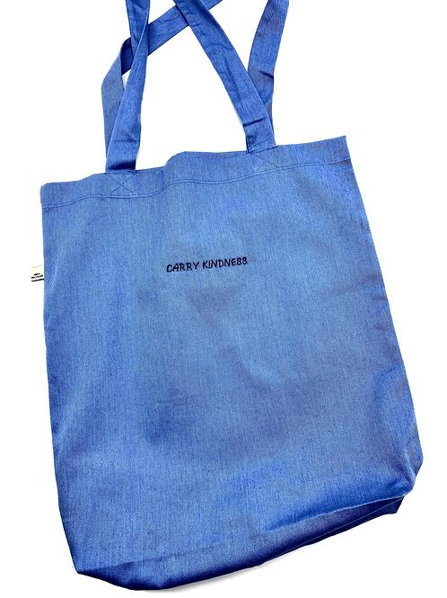 Embroidered Cotton Tote in Denim Blue