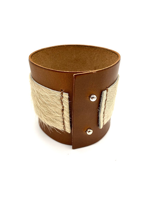 Leather & Calf Hair Cuff Bracelet, in Whiskey and White