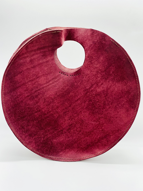 """""""MOVER SHAKER"""" Circle Tote in Burgundy"""