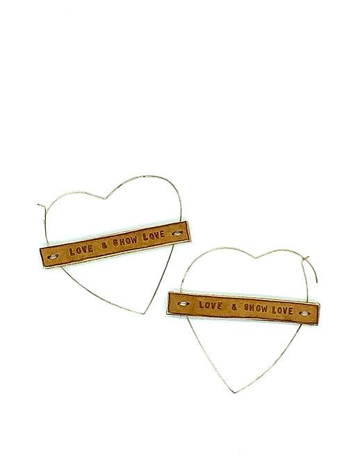 """""""LOVE & SHOW LOVE"""" Heart Earrings in Gold"""