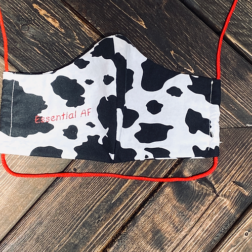 """ESSENTIAL AF"" Face Mask in Black + White Cow"