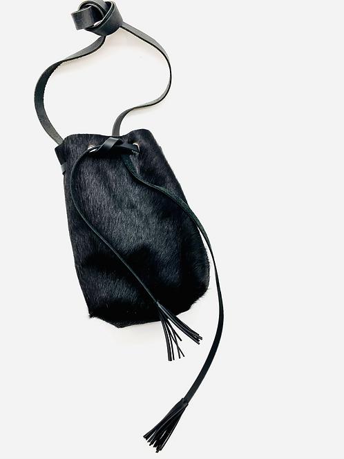 """""""BRINGS THE FUN"""" Bucket Bag in Black Calfhair"""