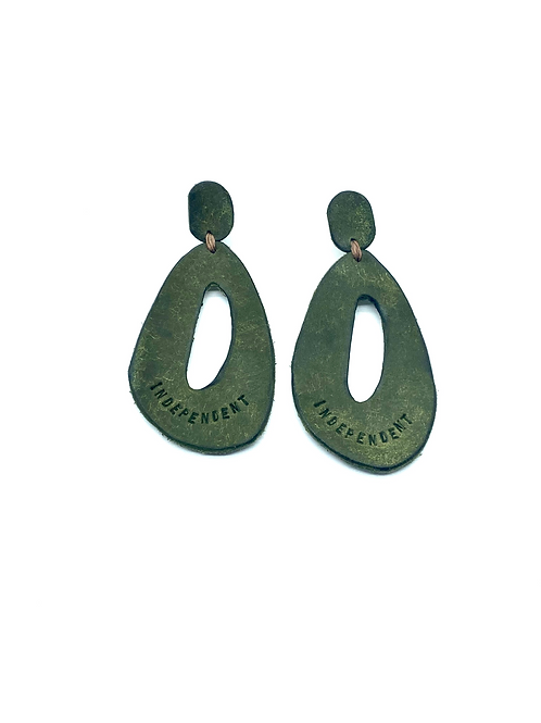 """INDEPENDENT"" Earrings in Olive"