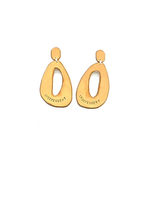 """""""INDEPENDENT"""" Earrings in Tan"""