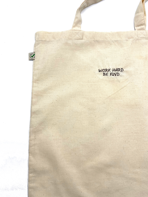 Embroidered Cotton Tote in Natural