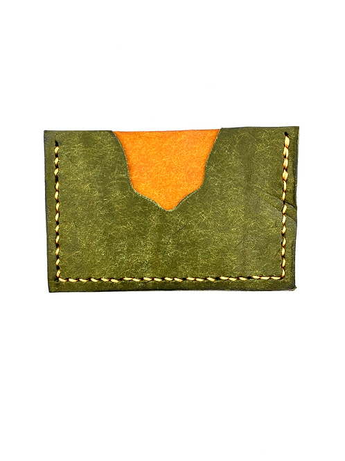 Two-Tone Cardholder in Olive + Yellow