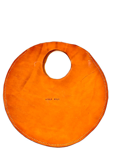 """GIRLS RULE"" Circle Bag in Olmo Satin"